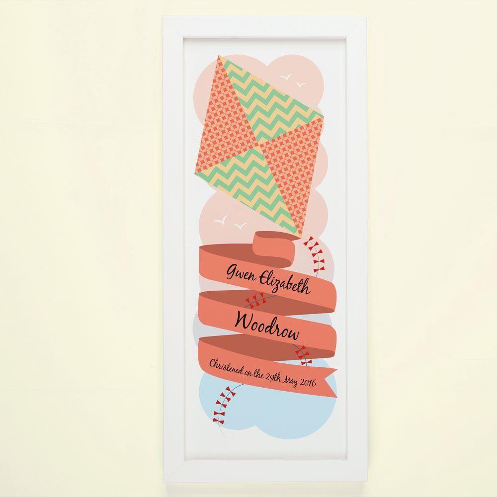 Customised Patterned Kite Christening Framed Print