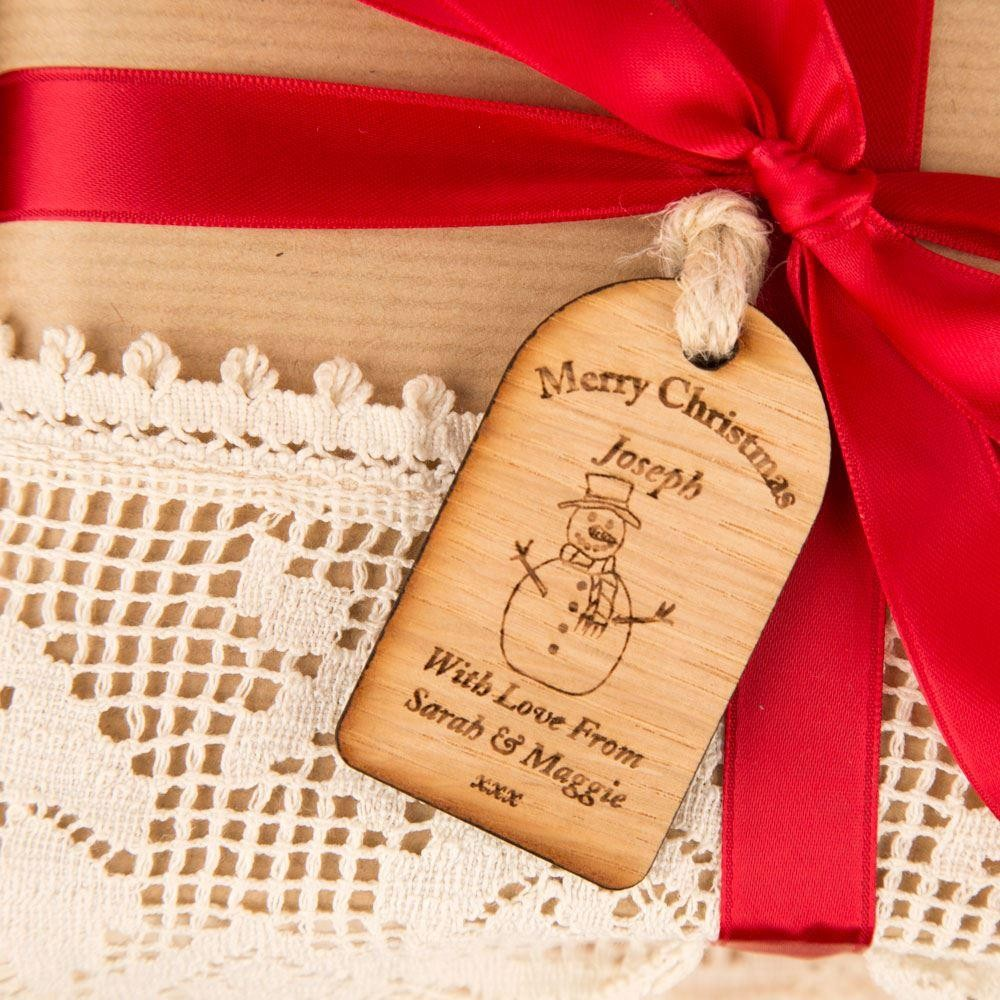 Snowman Christmas Wooden Tag