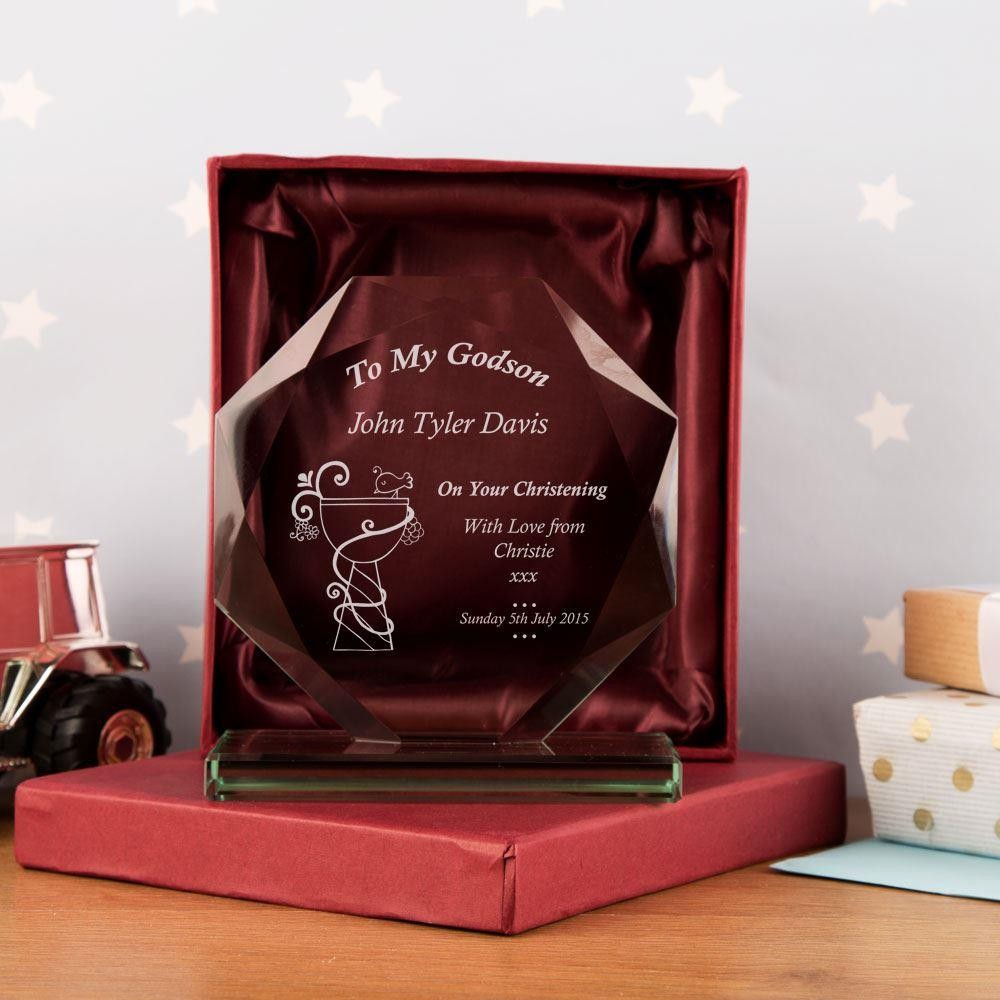 Personalised Godson Cut Glass Skye Facet