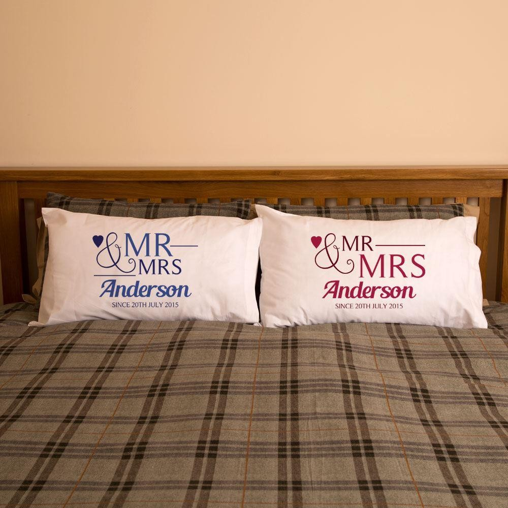 Personalised Mr & Mrs Since Double Pillowcase Set