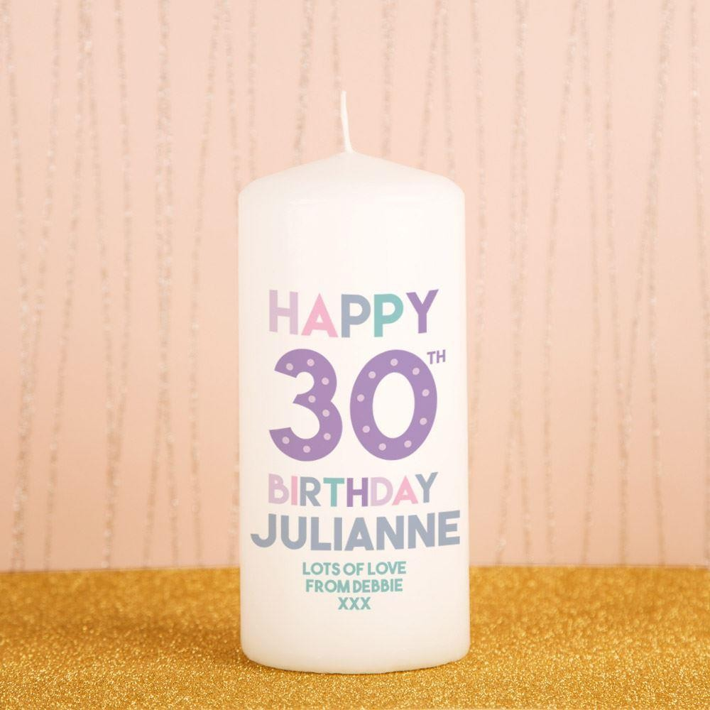 Happy 30th Birthday Bespoke Block Candle