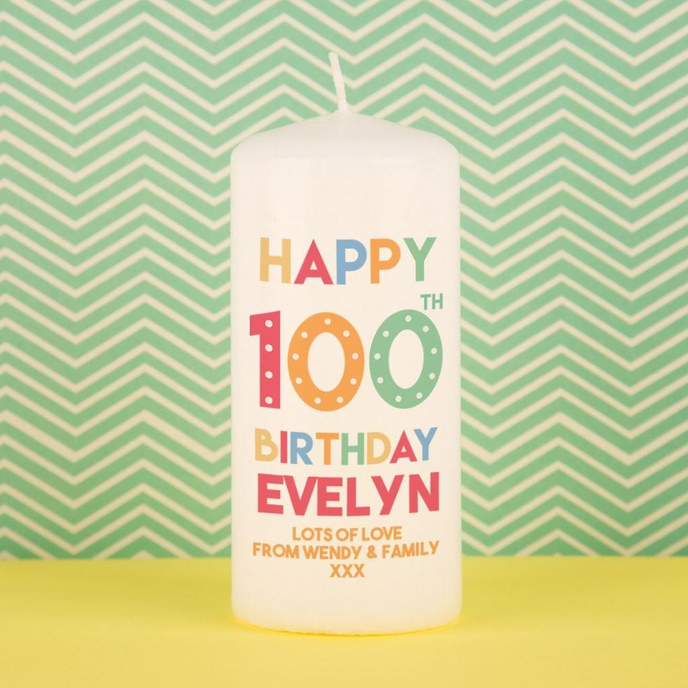 Special Happy 100th Birthday Custom Pillar Candle