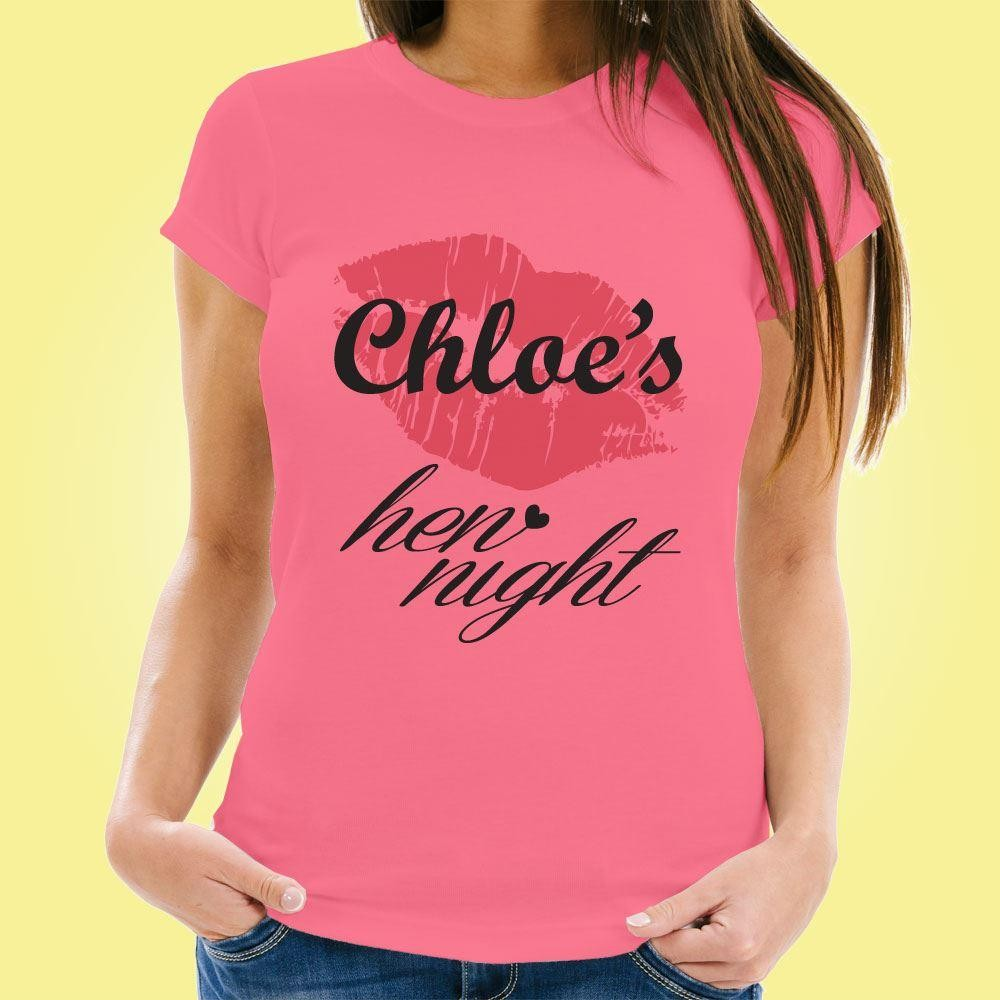 Personalised Lipstick Hen Party Tee
