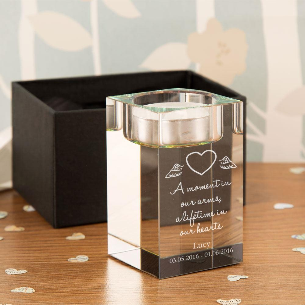 Personalised Baby Heart Memorial Glass Tealight Holder