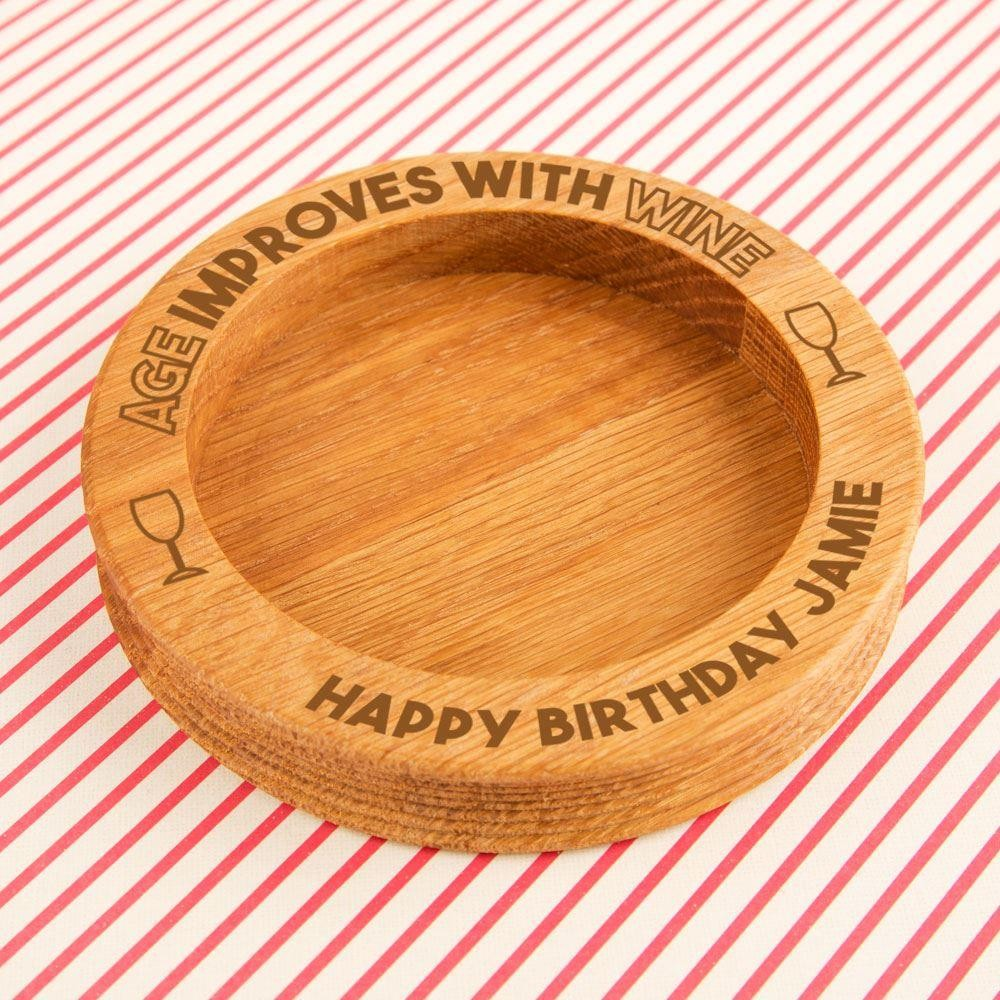 Funny Engraved Age Improves with Wine Oak Bottle Coaster