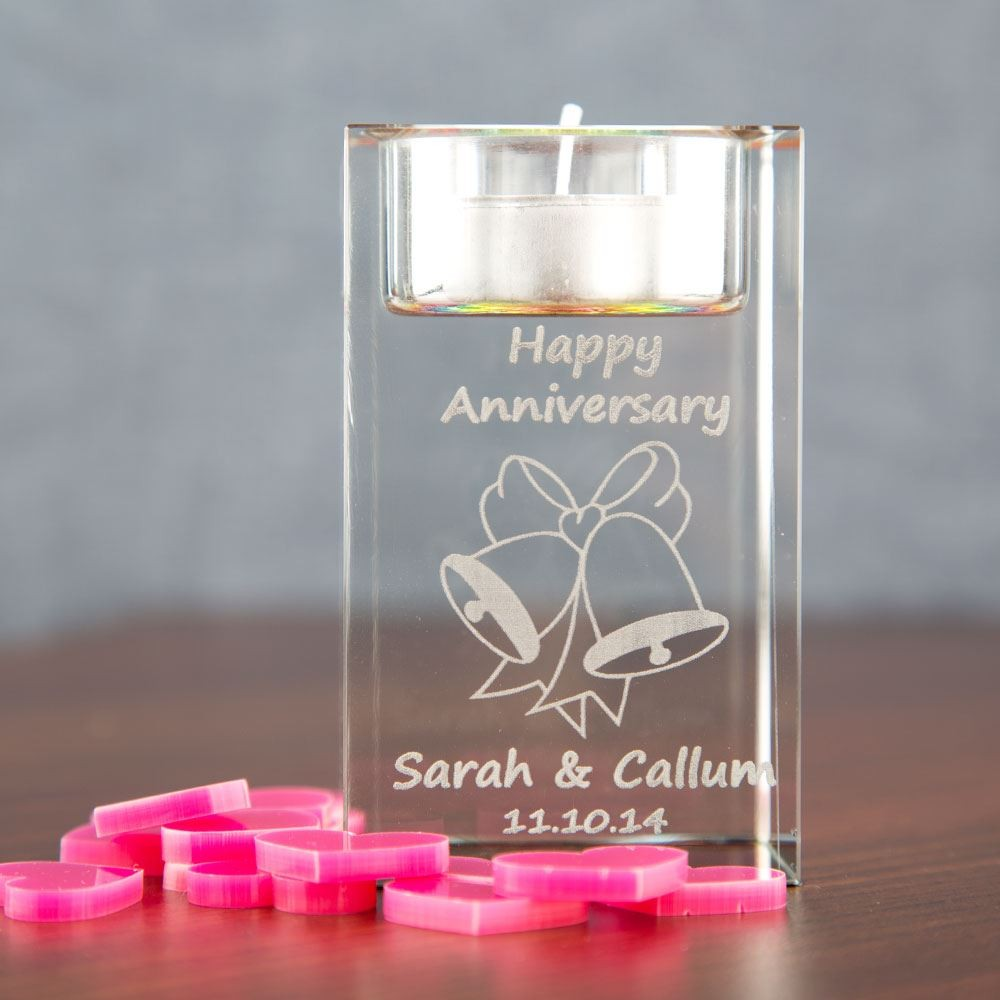 Anniversary Glass Tealight Holder: Bells