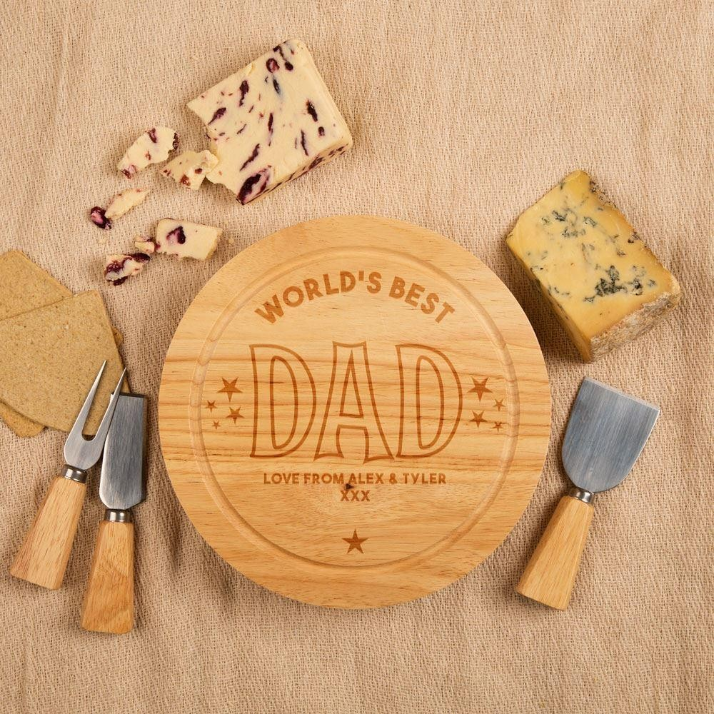 Personalised Worlds Best Dad Round Cheeseboard
