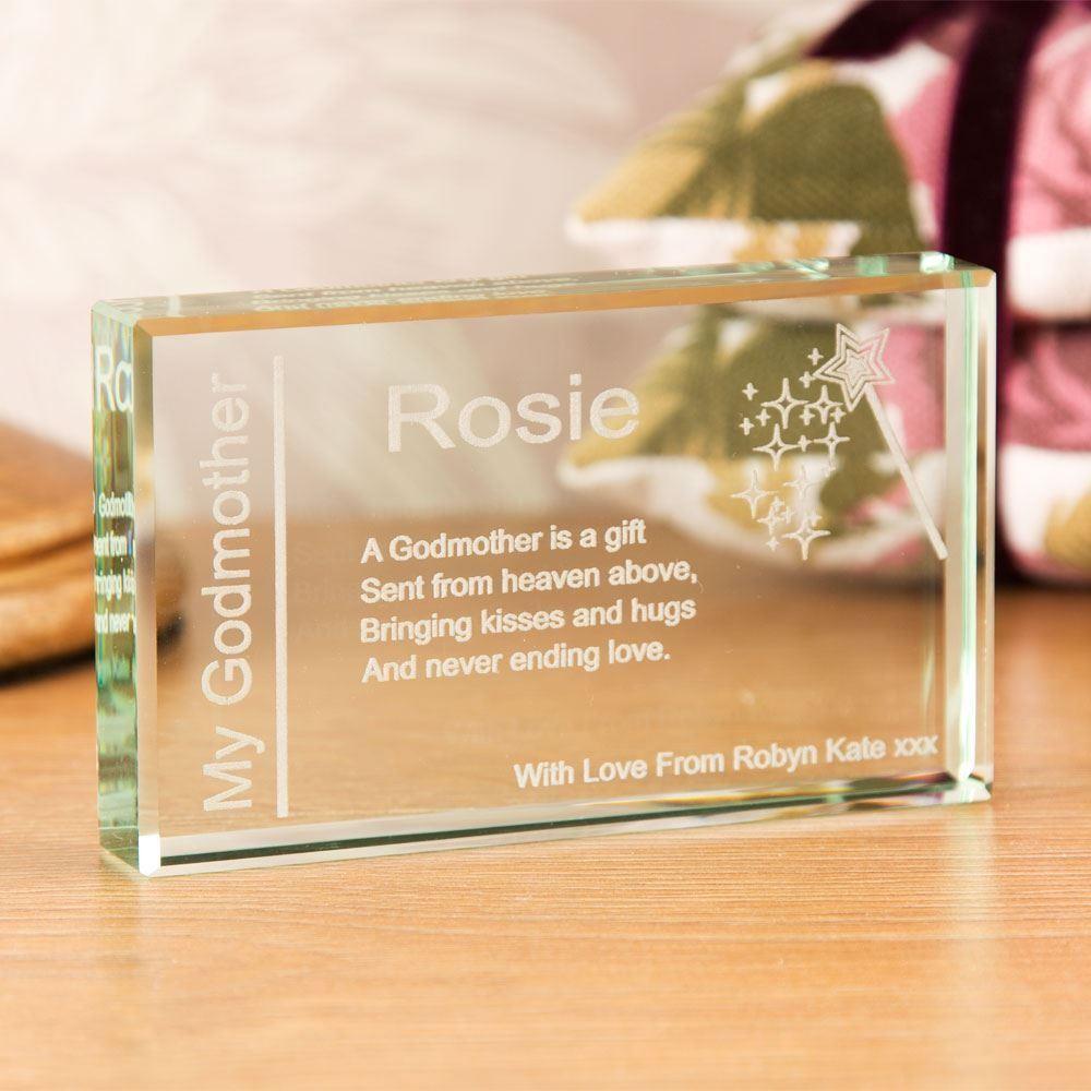 Personalised Godmother Jade Glass Block