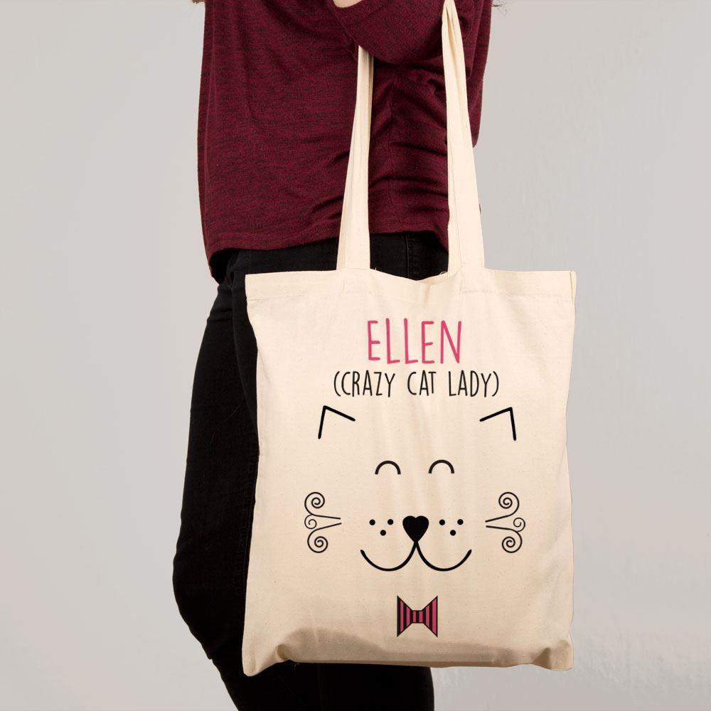 Personalised Crazy Cat Lady Shoulder Bag