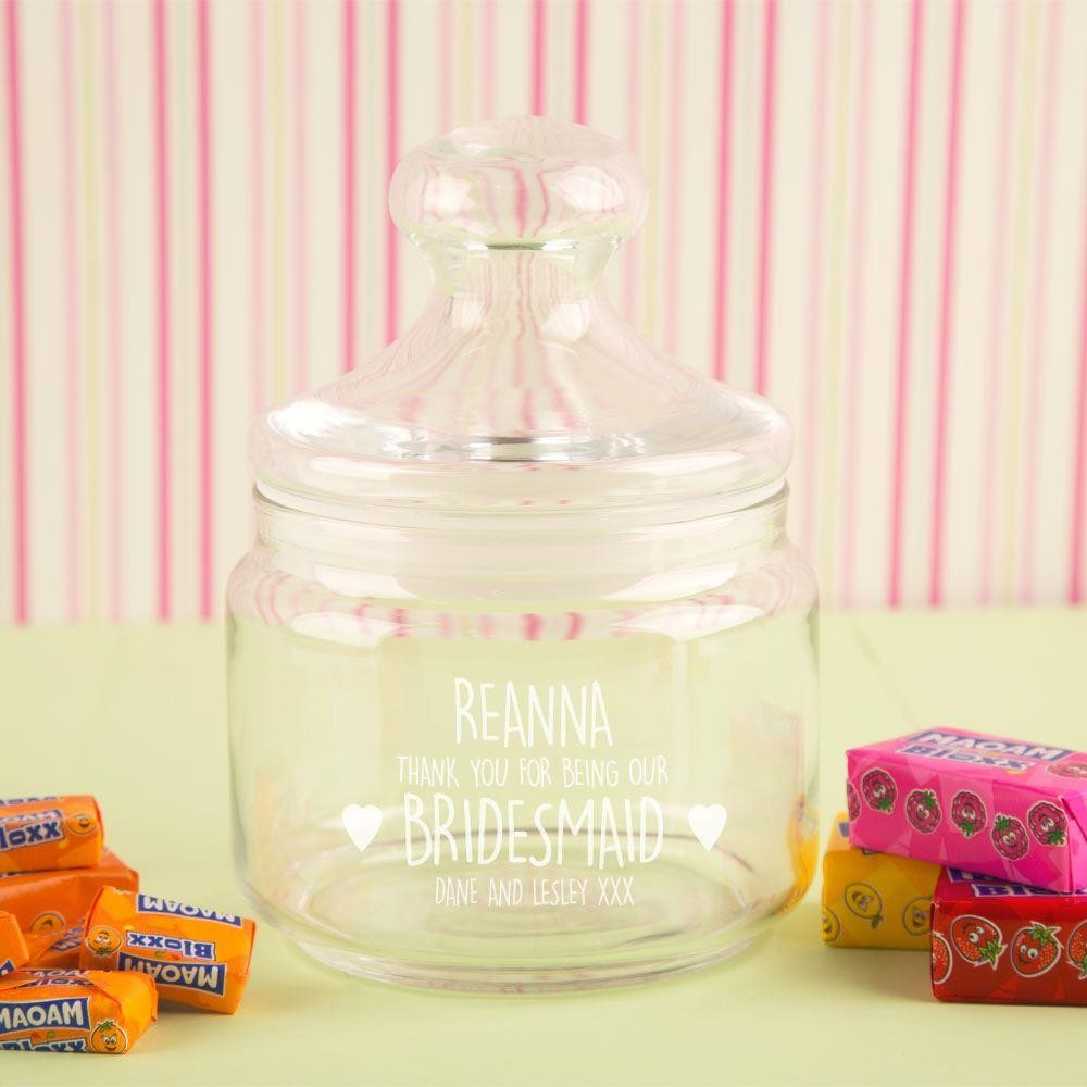 Personalised Bridesmaid Glass Sweet Jar