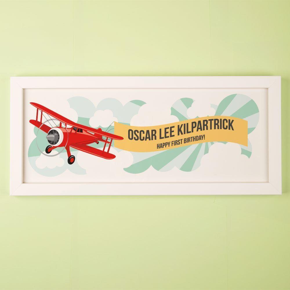 Customised 1st Birthday Aeroplane Framed Print