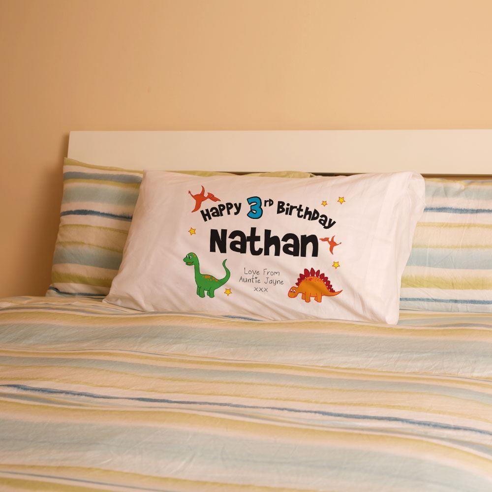 Personalised Boys Birthday Dinosaur Pillowcase