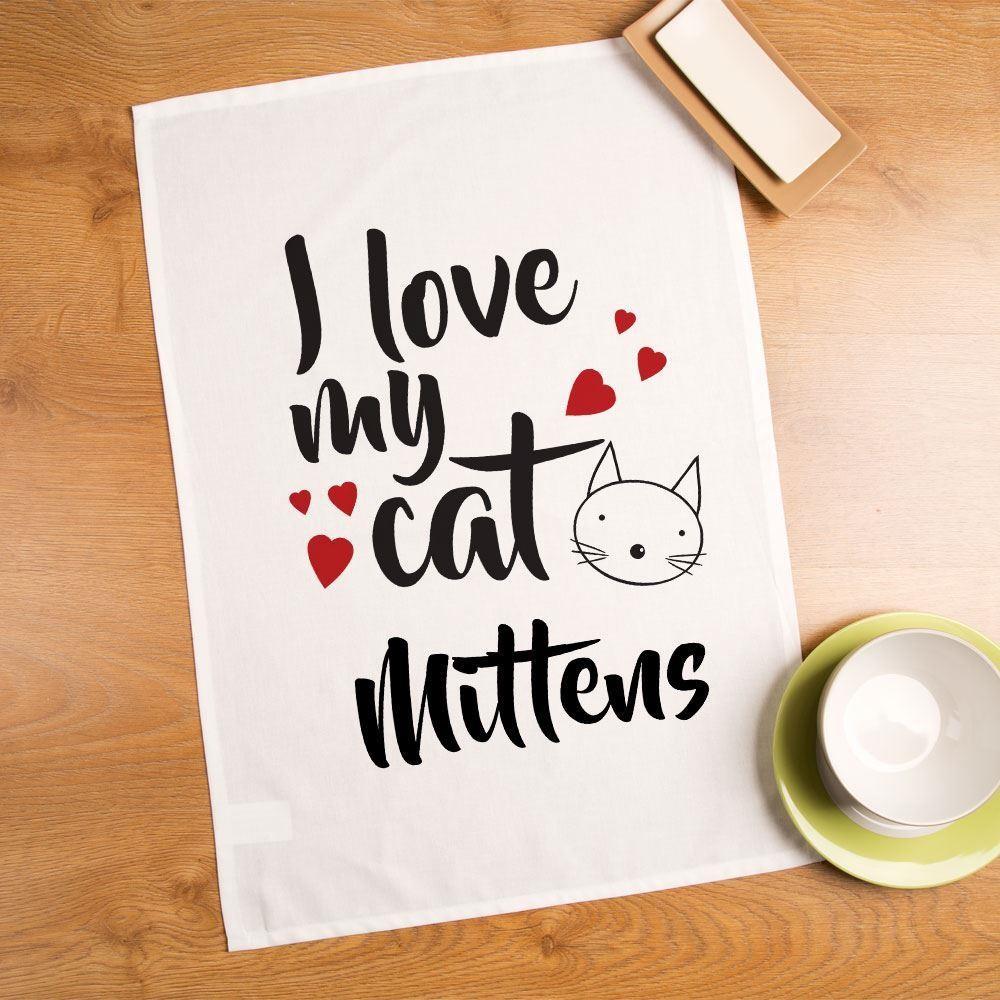 I Love My Cat Customised Printed Tea Towel