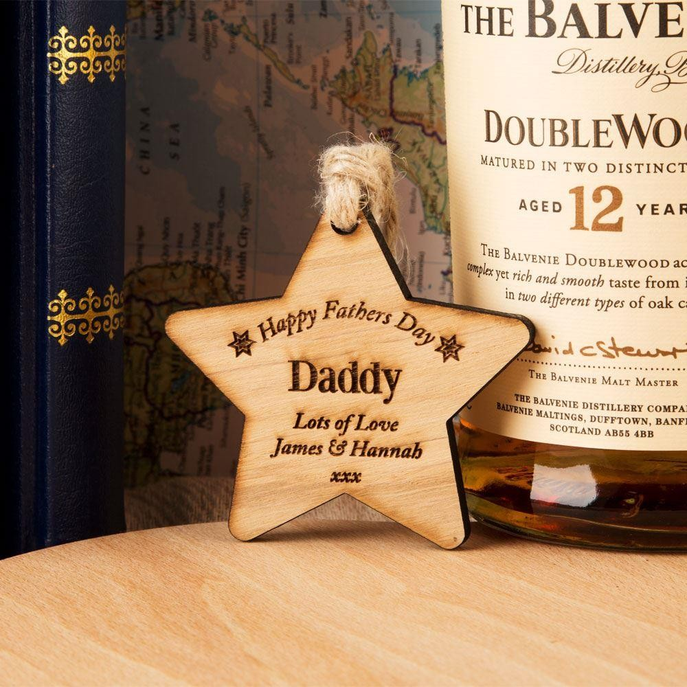 Personalised Fathers Day Wooden Star