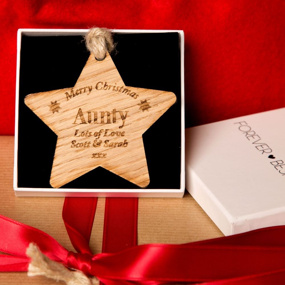 Personalised Wooden Christmas Star Aunt