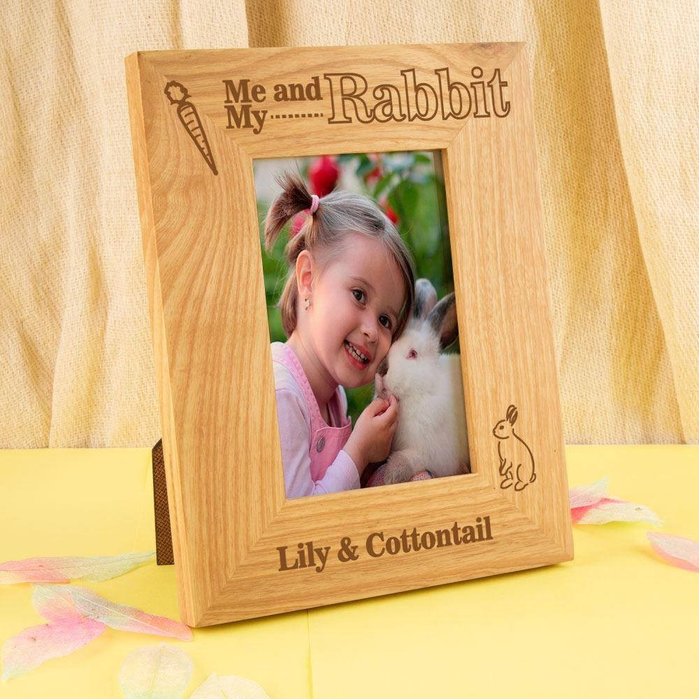 Me & My Rabbit Customised Oak Photo Frame