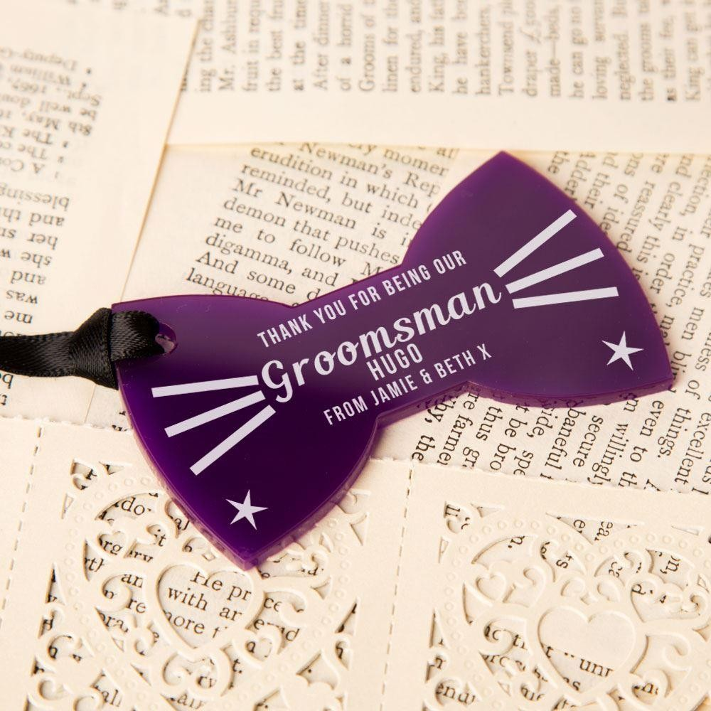 Personalised Groomsman Thank You Acrylic Bow Tie