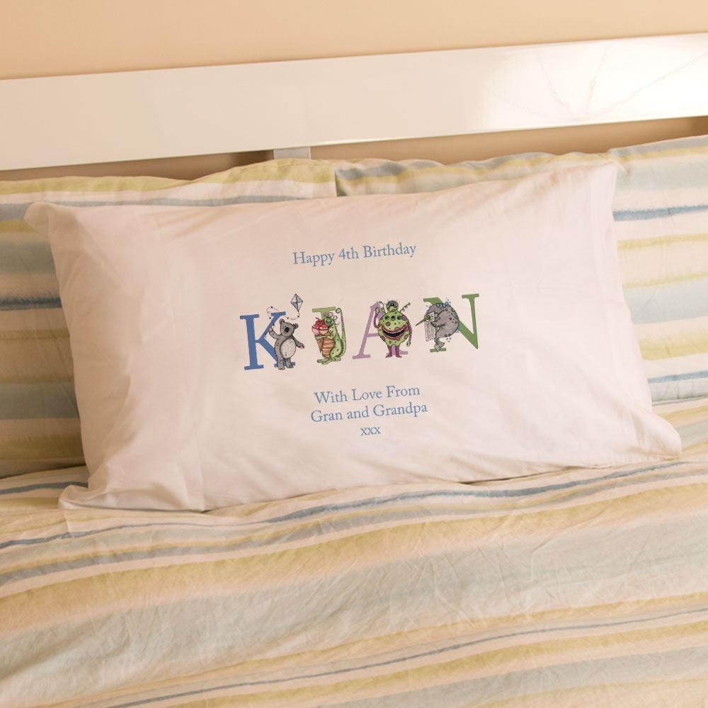 Personalised Boys Birthday Name Illustration Pillowcase