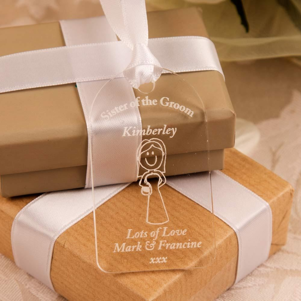Wedding Gift Ideas For Groom From Sister : Engraved Acrylic Sister of the Groom Gift Tag Forever Bespoke