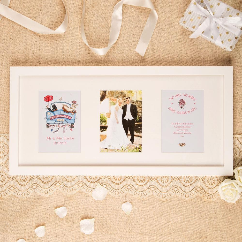 Personalised Wedding 3 Aperture Frame: Traditional Design