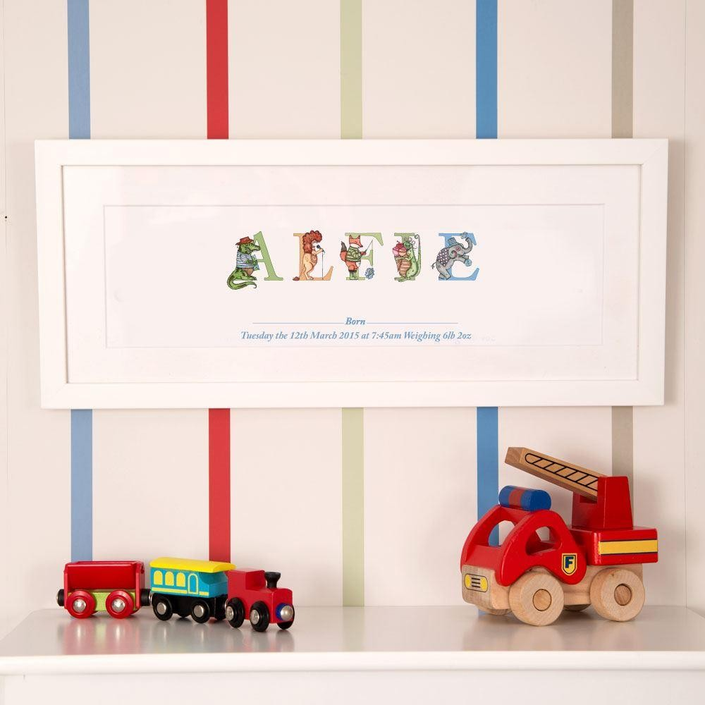 Personalised Illustrated Babys Name Frame