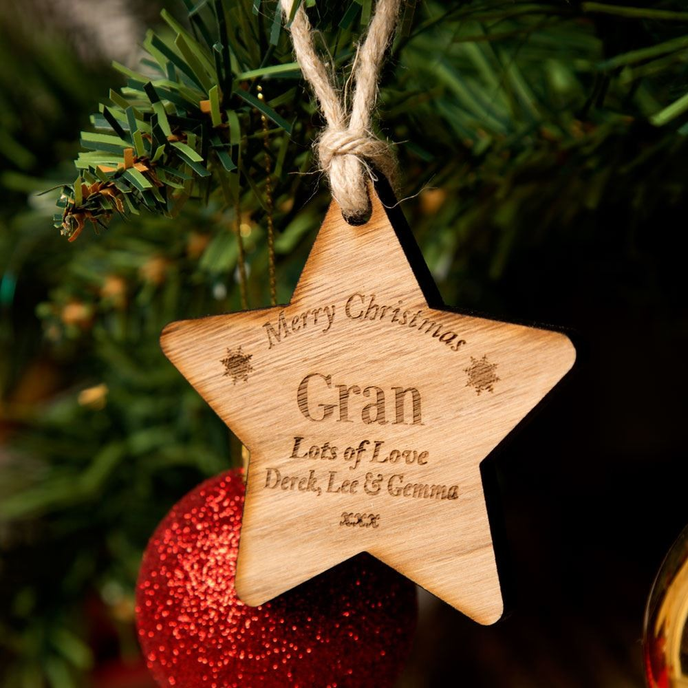 Personalised Wooden Christmas Star Gran