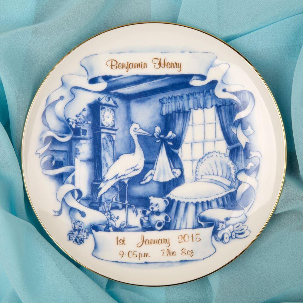 Blue Stork New Baby Personalised Plate Forever Bespoke