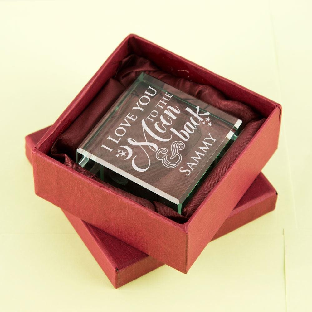 Personalised Love You to the Moon & Back Glass Block
