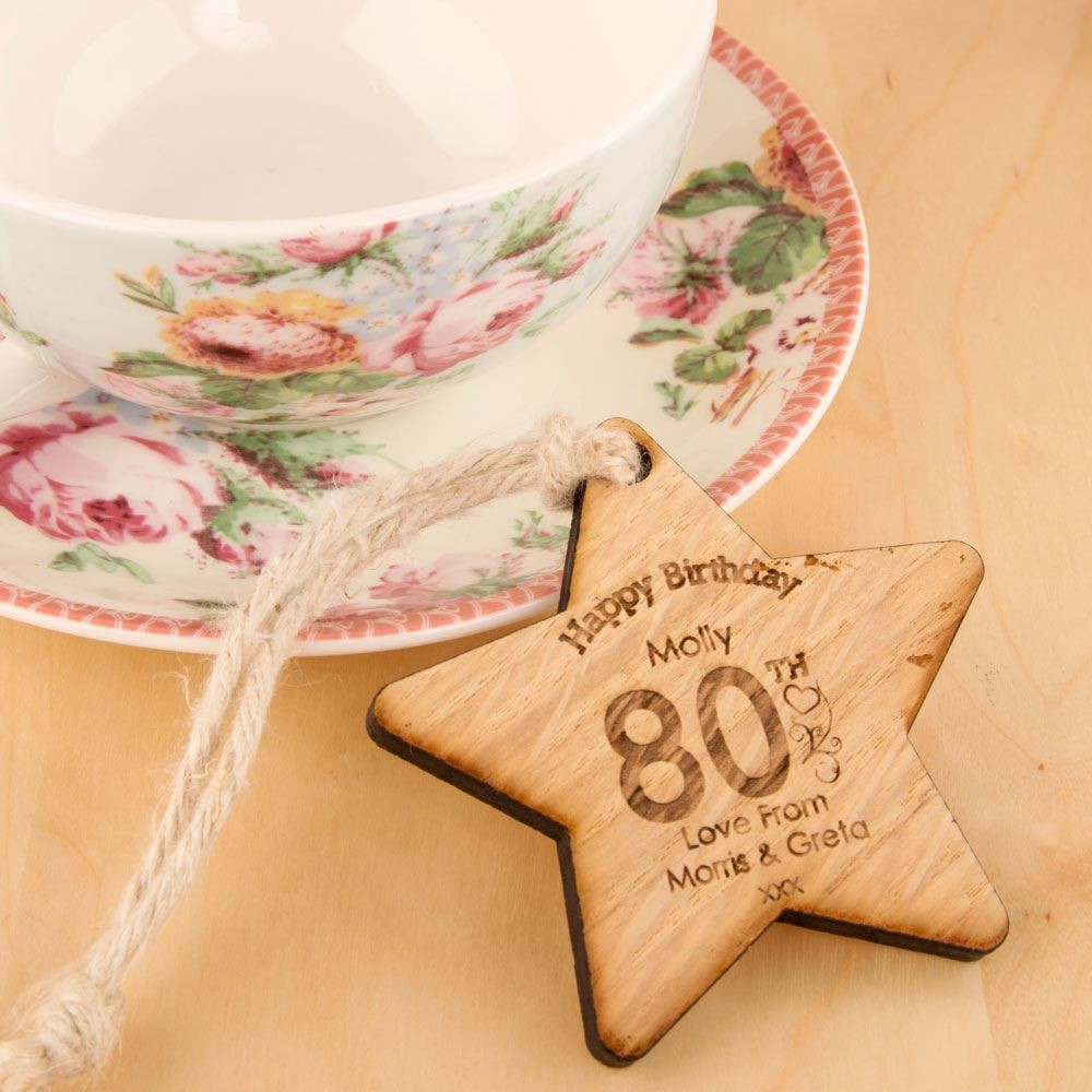 80th Birthday Wooden Star