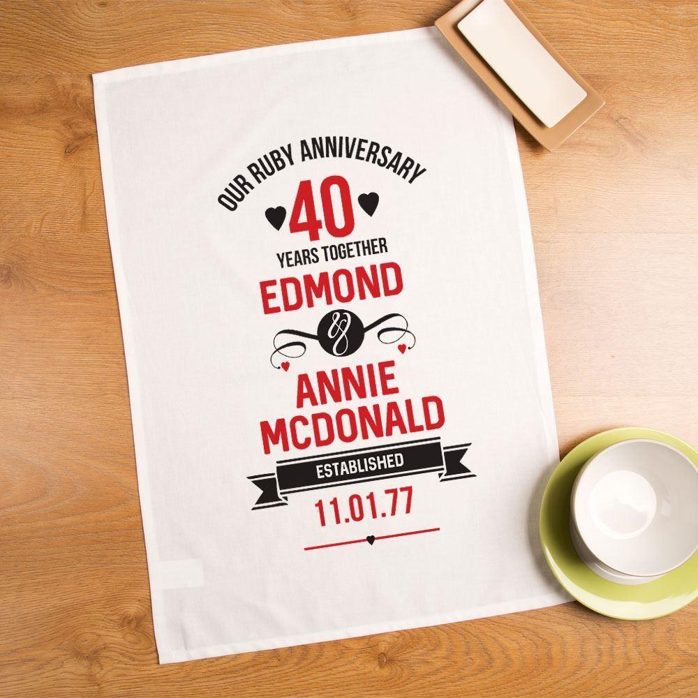 Personalised 40th Ruby Anniversary Printed Tea Towel