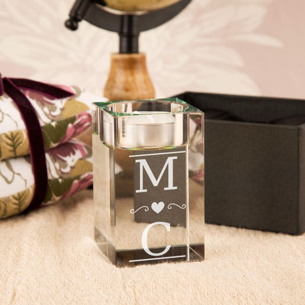 Couples Initials Custom Glass Tealight Holder