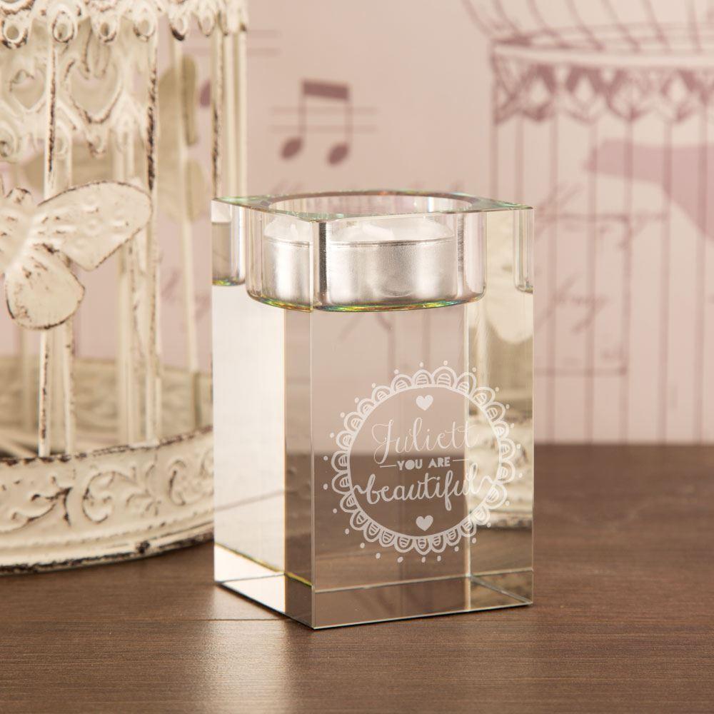 Beautiful Engraved Glass Block Tealight Holder