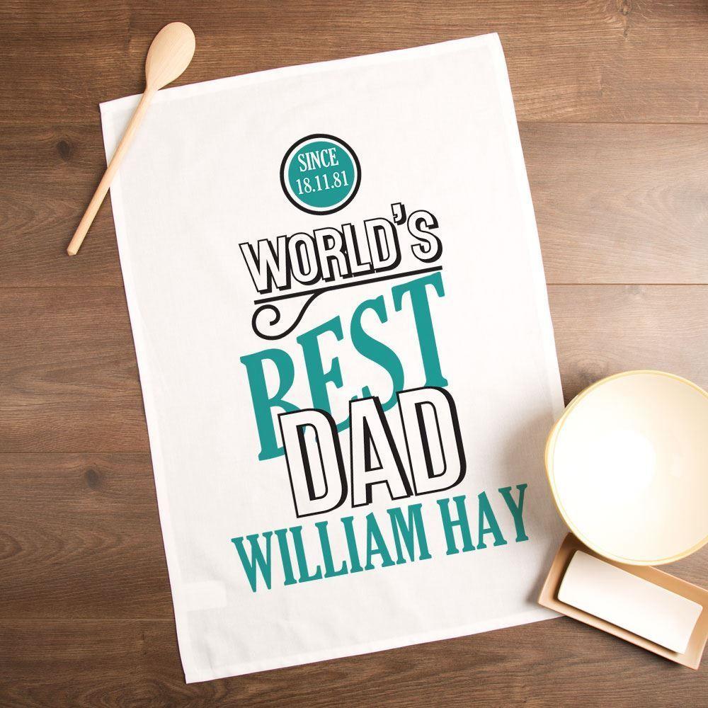 Personalised Worlds Best Dad Printed Tea Towel