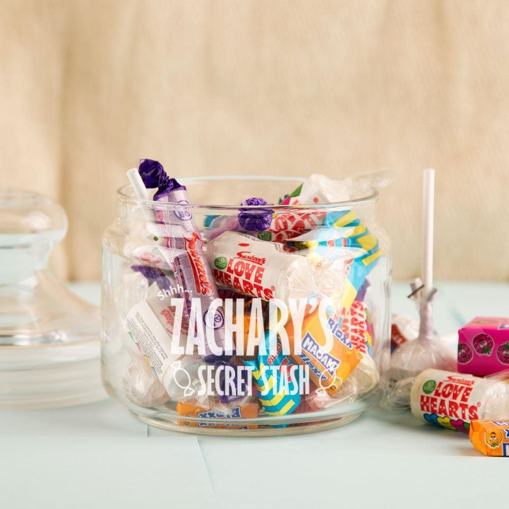 Secret Stash Personalised Retro Sweet Jar Forever Bespoke