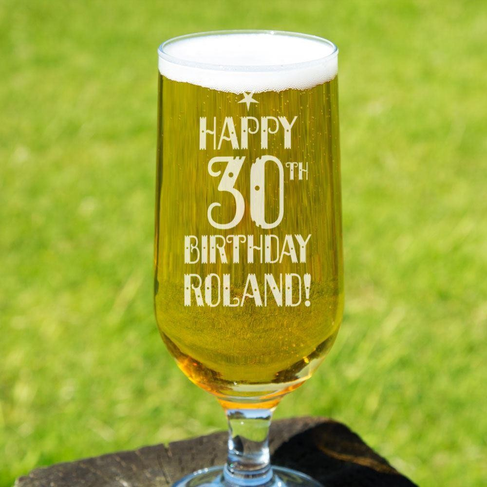 Custom Engraved Happy Birthday Beer Glass Forever Bespoke