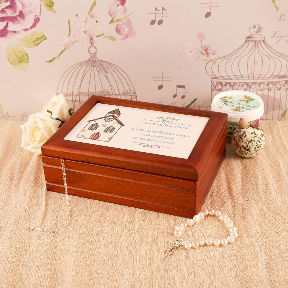 Bespoke Confirmation Musical Jewellery Box: Church