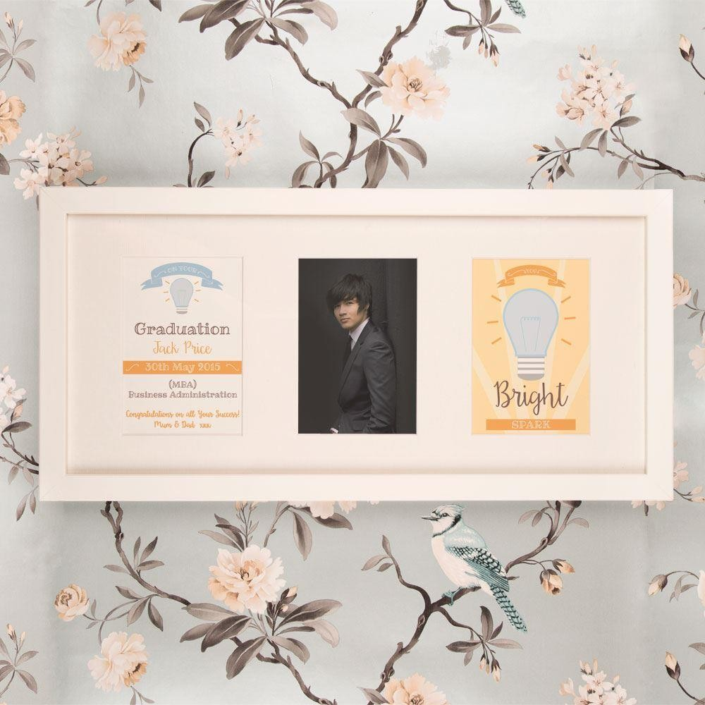 Personalised Bright Spark Graduation 3 Aperture Frame