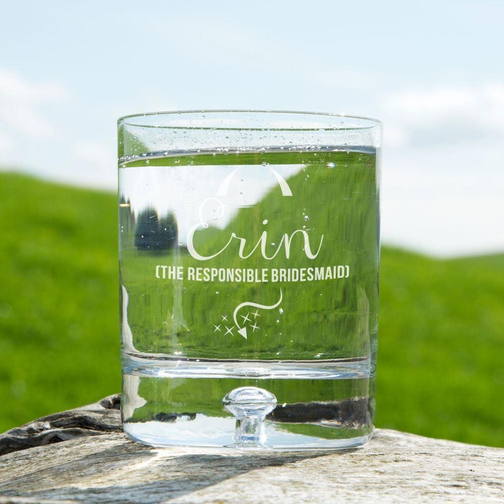 Personalised Responsible Bridesmaid Tumbler Glass