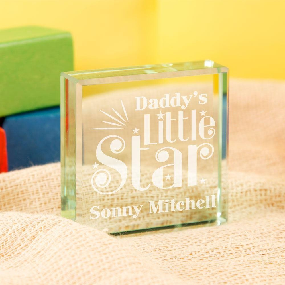 Personalised Daddys Little Star Engraved Glass Block