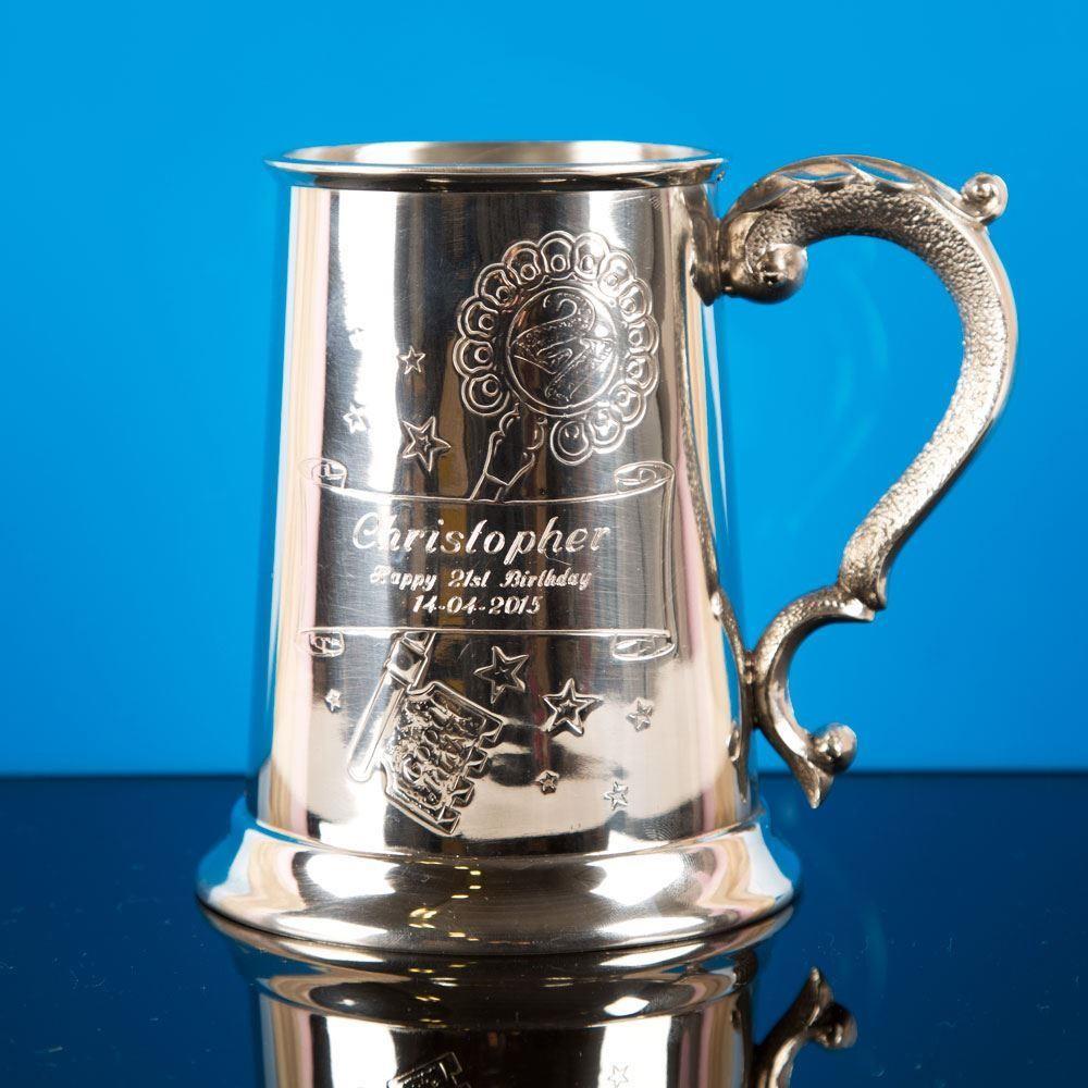 Personalised 21st Birthday Engraved Pewter Tankard