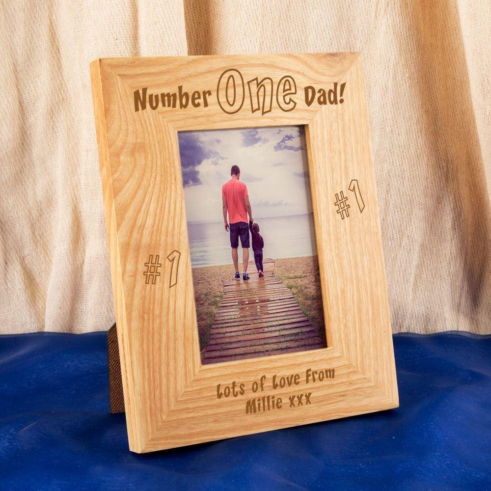 Personalised No1. Dad Engraved Oak Frame
