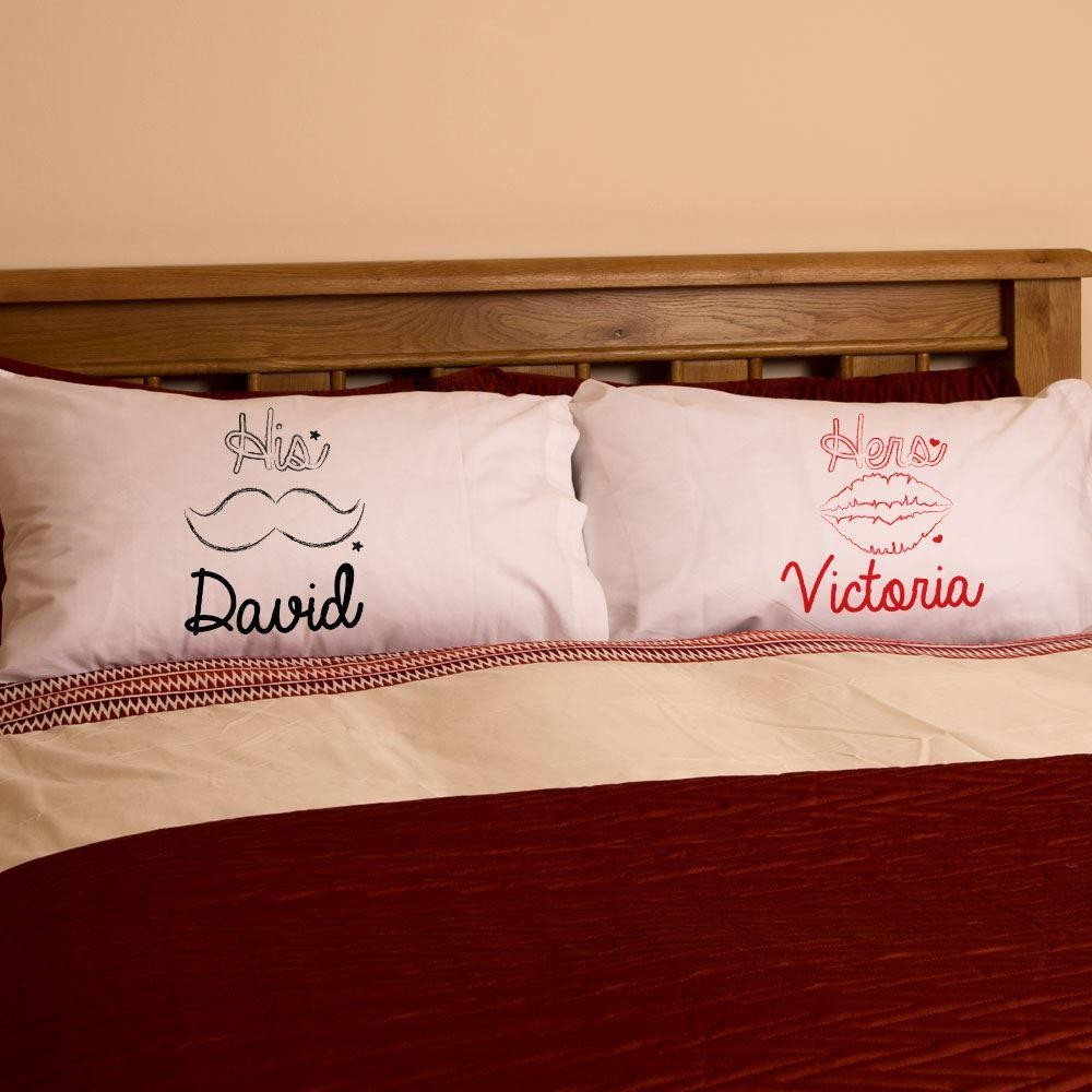 Personalised Moustache & Lips Pillowcase Set