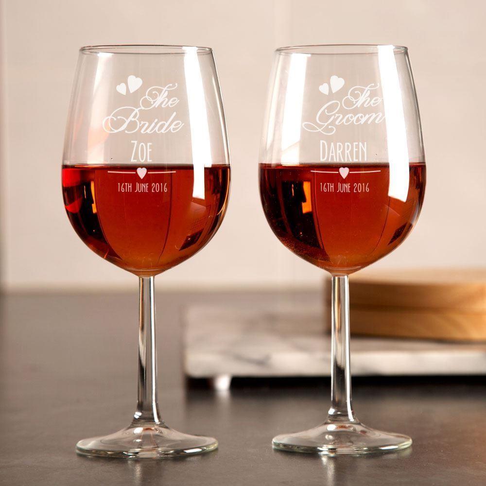 Personalised Bride and Groom Wine Glasses