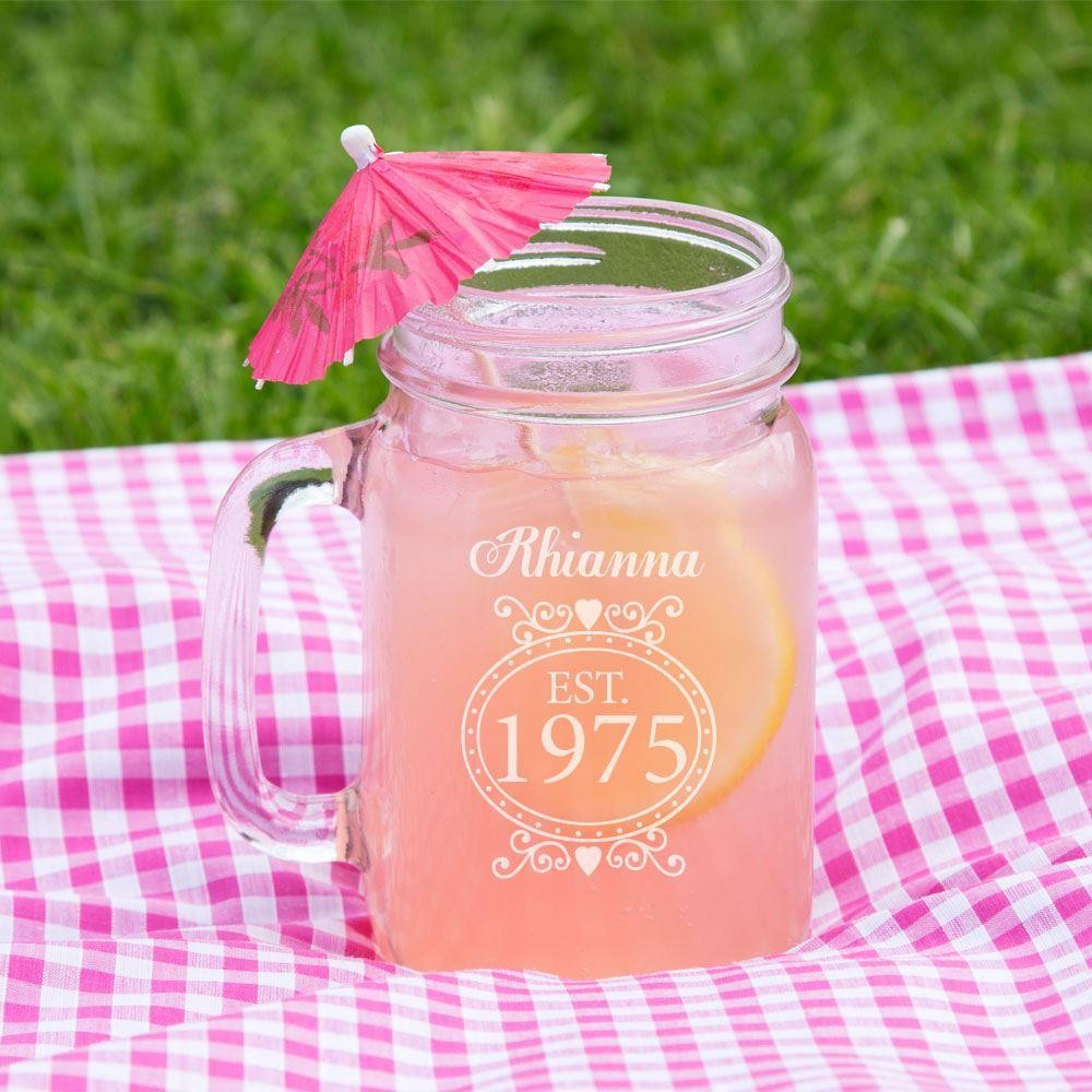 Personalised 40th Birthday Glass Mason Jar For Her