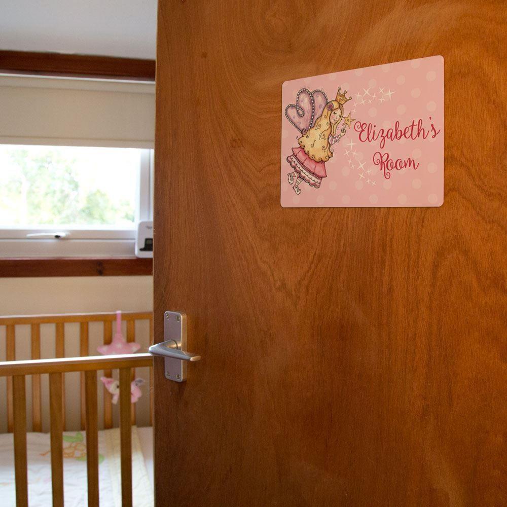 Girls Fairy Princess Metal Door Sign