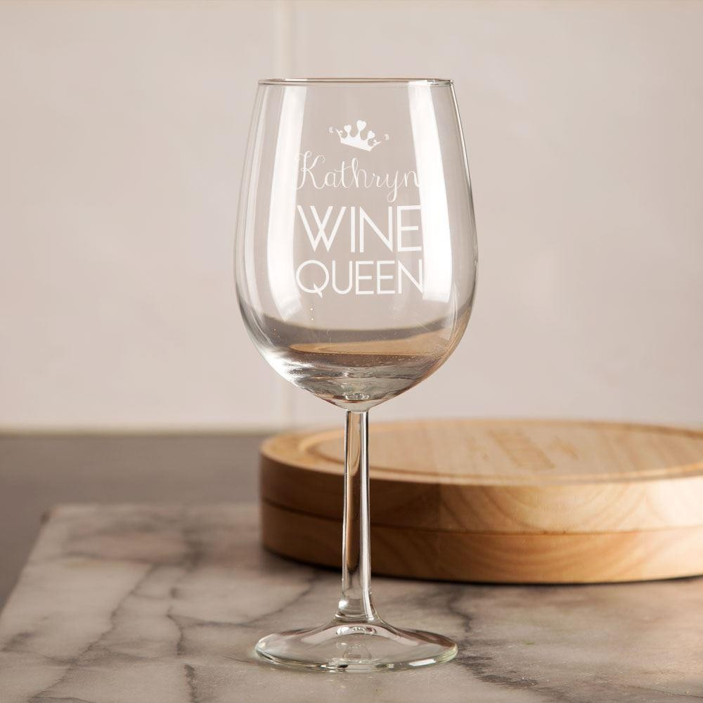 Personalised And Engraved Wine Queen Glass Forever Bespoke