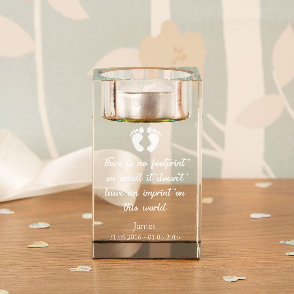 Unique Baby Footprints Memorial Glass Tealight Holder