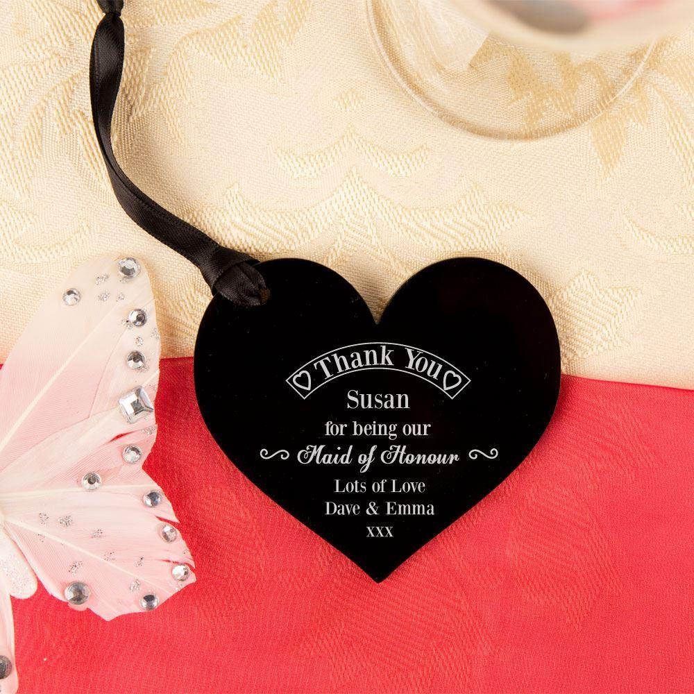 Maid of Honour Thank You Keepsake Acrylic Heart