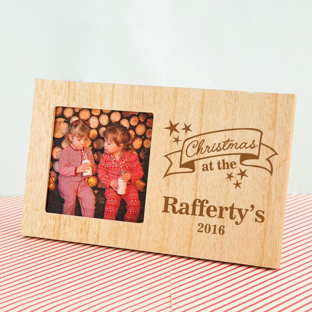 Custom Christmas at Wooden Photo Frame