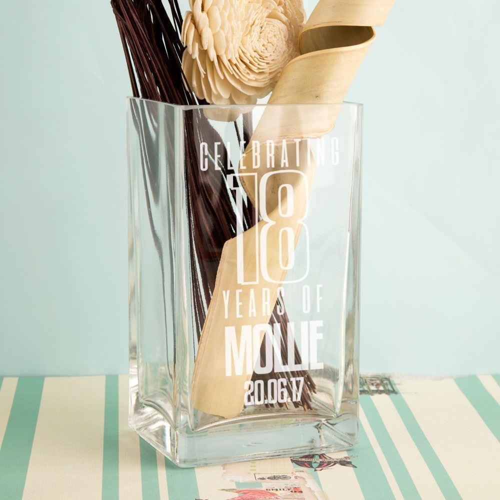 Personalised 18 Years of...Glass Vase